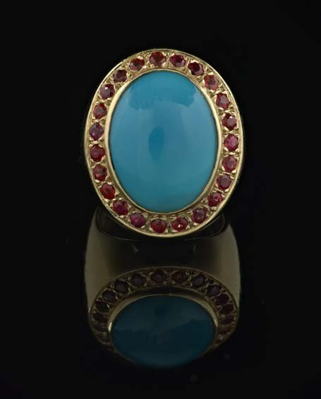 14 Kt. Yellow Gold, Garnet and Turquoise Ring