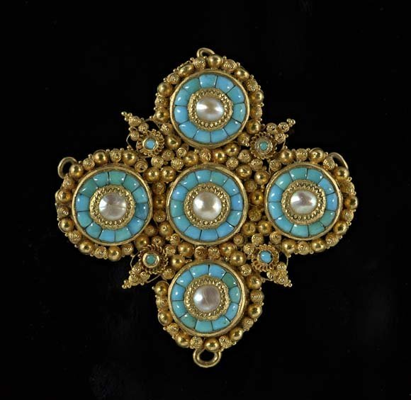 Indian 18 Kt. Gold, Turquoise and Pearl Brooch