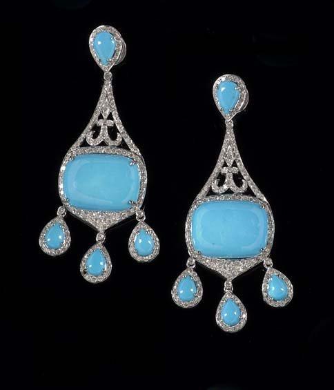 Pair of 18 Kt. Gold, Diamond & Turquoise Earrings