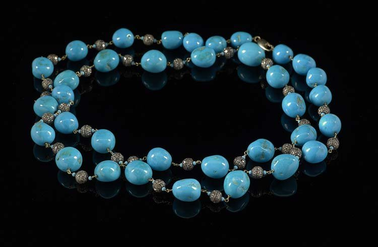 14 Kt. Gold, Silver, Diamond & Turquoise Necklace