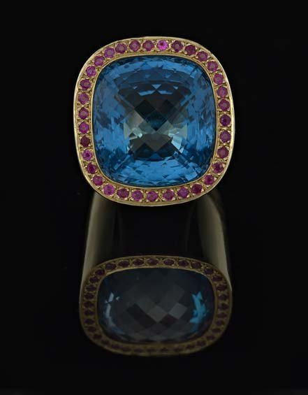 14 Kt. Yellow Gold, Blue Topaz and Ruby Ring