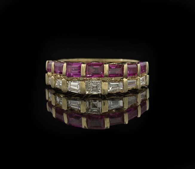 18 Kt. & 14 Kt. Gold, Diamond and Ruby Band Ring