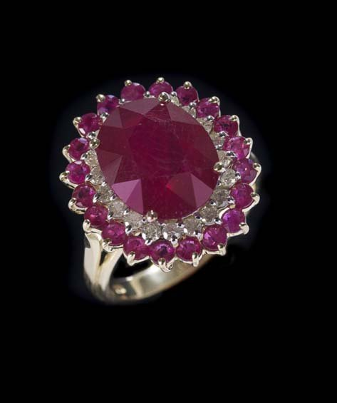 14 Kt. Yellow/White Gold, Ruby and Diamond Ring