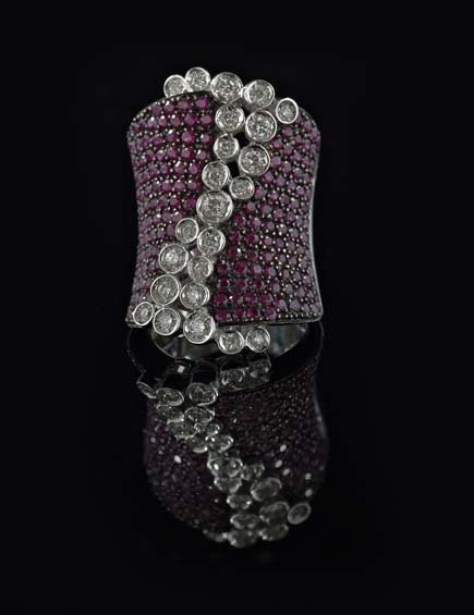 18 Kt. White Gold, Diamond and Ruby Ring