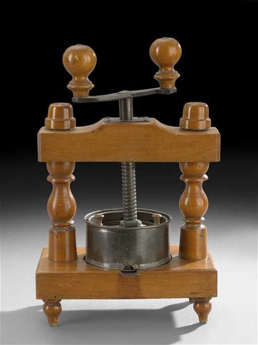 Antique French Wood, Tin and Iron Cheese Press