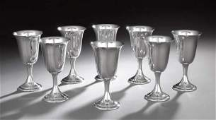 Set of Eight Sterling Silver Water Goblets