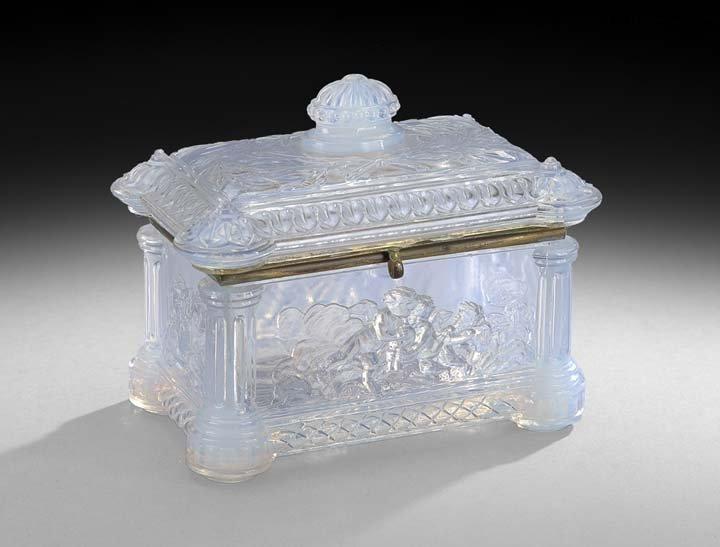 Baccarat Molded Opalescent Glass Jewel Casket