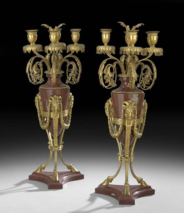 Pair of Napoleon III Bronze and Marble Candelabra