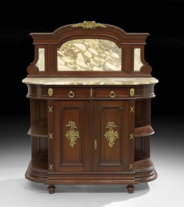 Louis XVI-Style Mahogany and Marble-Top Server