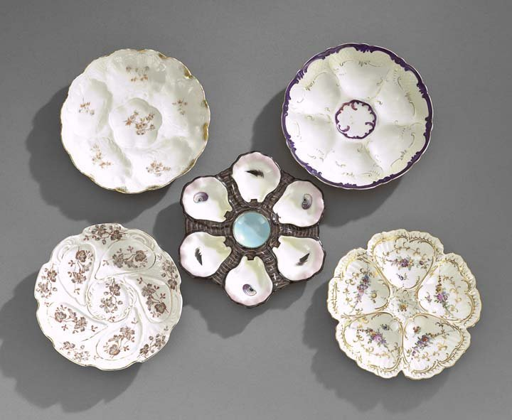 Collection of Five Continental Oyster Plates