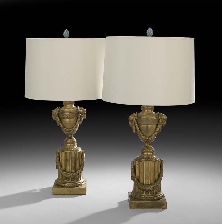 Pair of Napoleon III Gilt-Bronze Garniture Urns