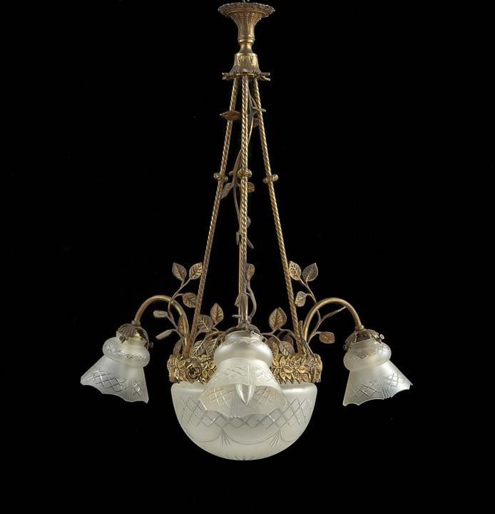 Art Deco-Style Brass Four-Light Chandelier
