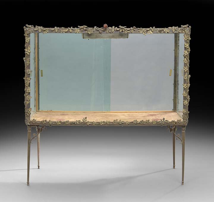 Unusual Bronze and Glass Display Cabinet