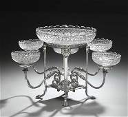 Victorian Silverplate and Cut Glass Epergne