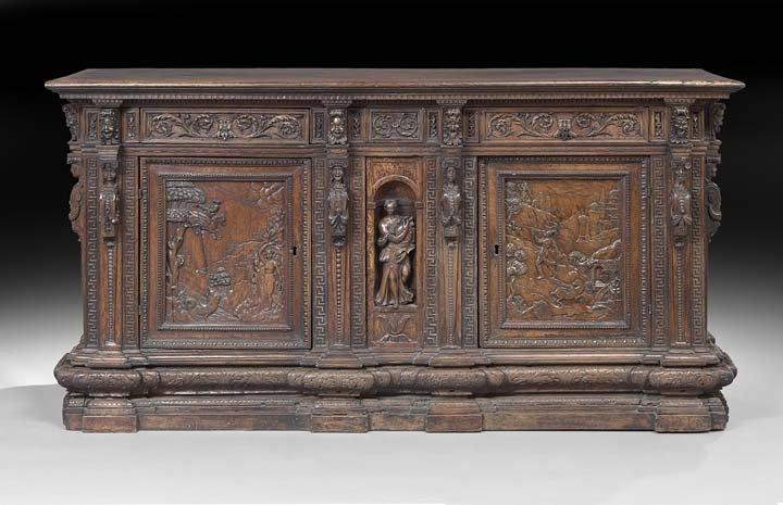 Italian Carved Walnut Sacristy Cabinet
