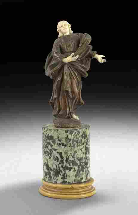 South German Wood and Ivory Figure of an Angel