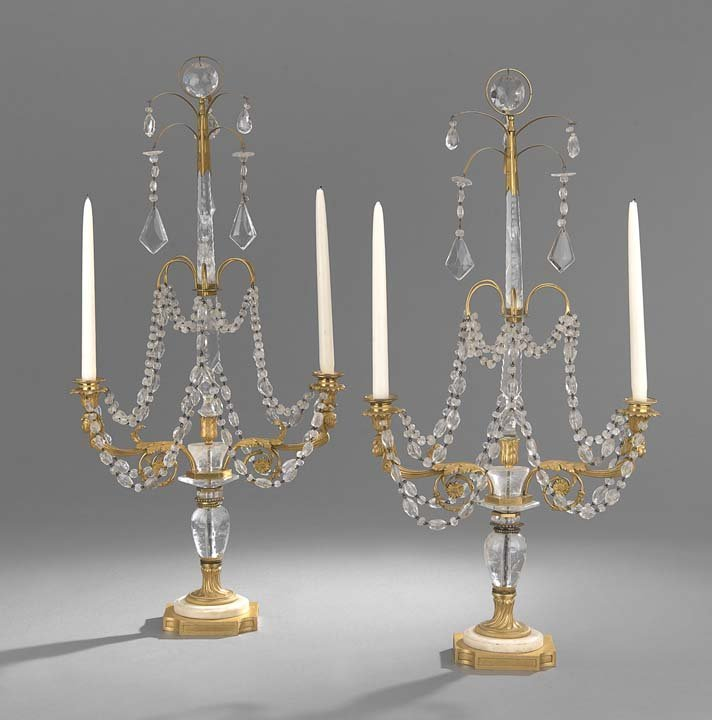 Pair of French Rock Crystal & Bronze Candelabra