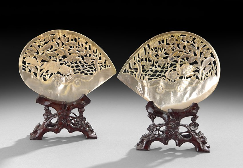 Pair of Chinese Carved Pearl Shells