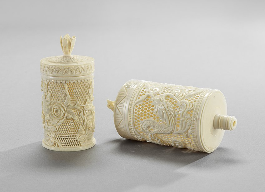 Two Chinese Ivory Lidded Canisters