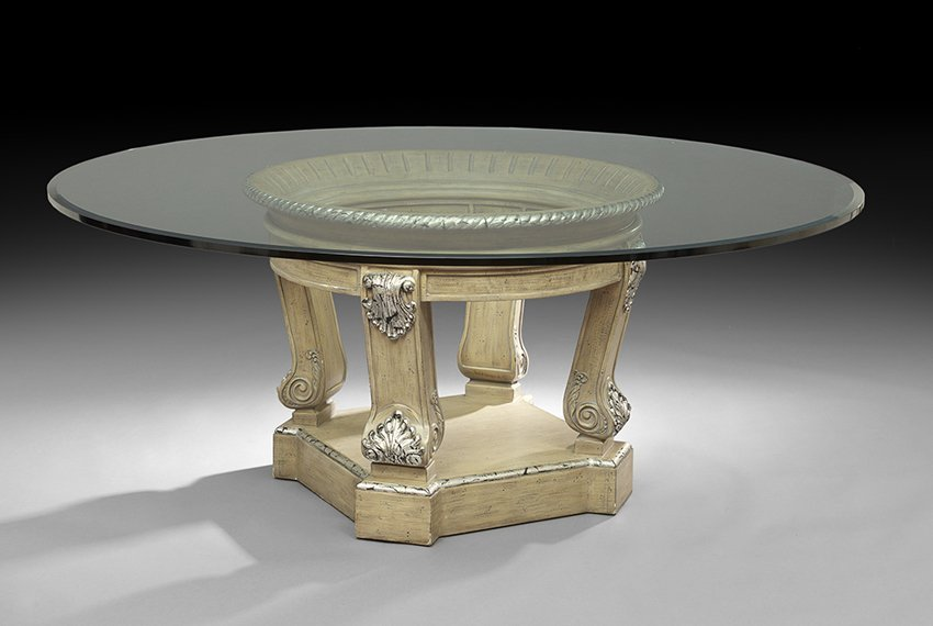 Contemporary Glass and Painted Breakfast Table