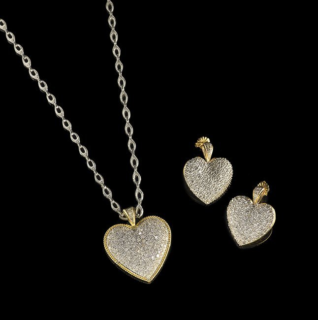 14 Kt. Pave Diamond Necklace and Earring Suite