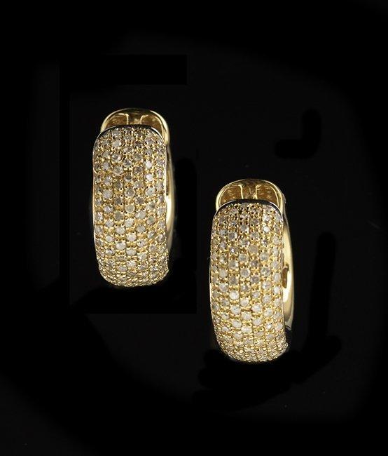 Pair of 14 Kt. Gold Pave Diamond Hoop Earrings