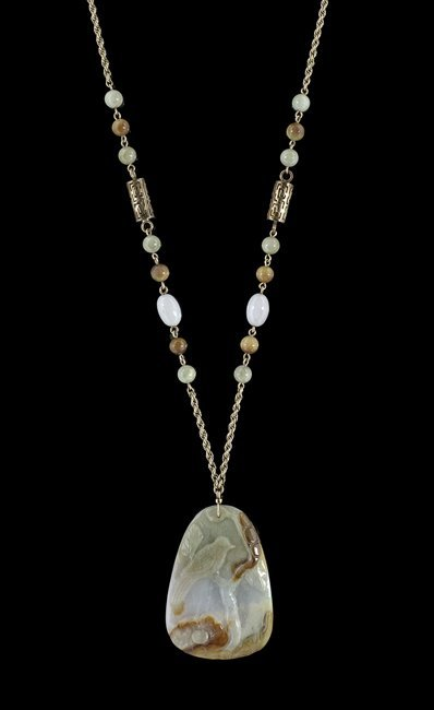 Fourteen-Karat Yellow Gold and Jade Necklace