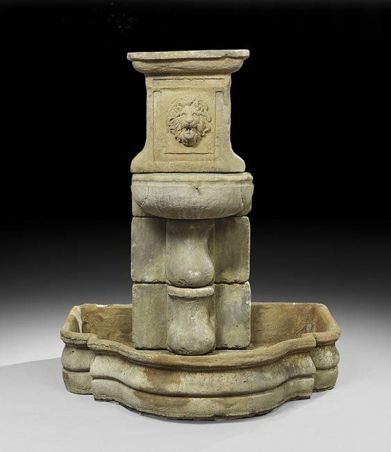 French-Style Cast Stone Wall Fountain