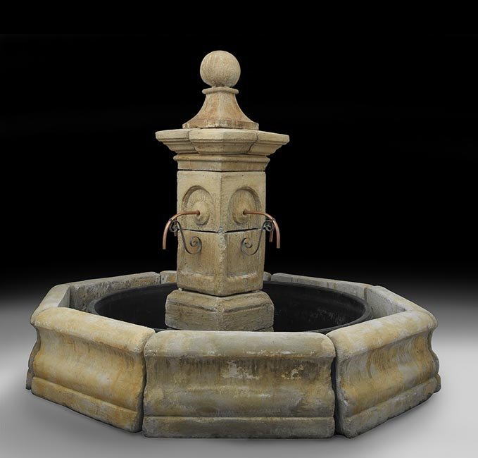 """Cast Stone """"Town Fountain"""" and Basin Wall"""