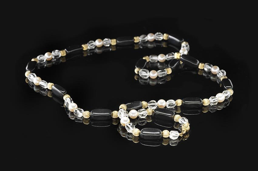 14 Kt., Onyx, Pearl and Rock Crystal Necklace