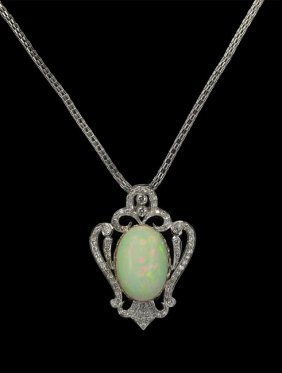 18 Kt. White Gold, Opal And Diamond Necklace