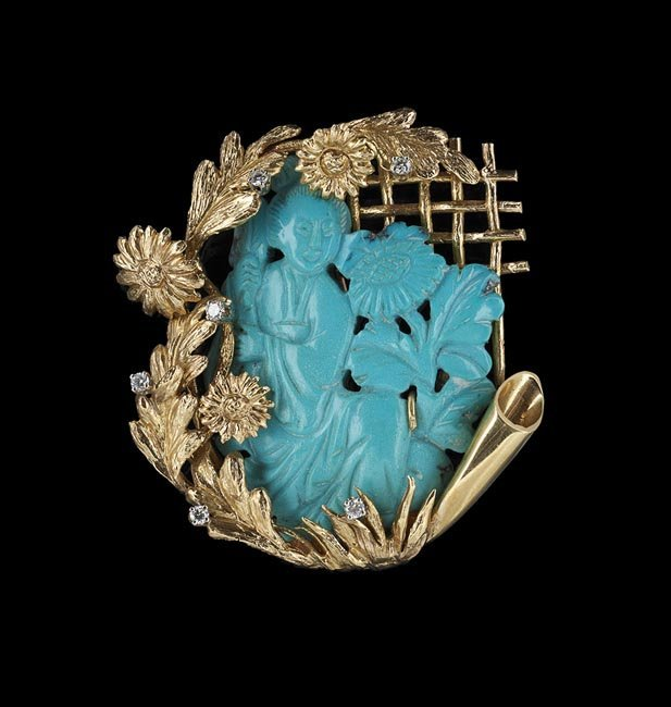 14 Kt. Yellow Gold, Turquoise and Diamond Brooch