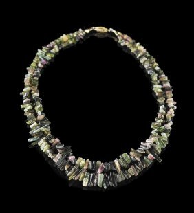 14 Kt. Yellow Gold And Tourmaline Necklace