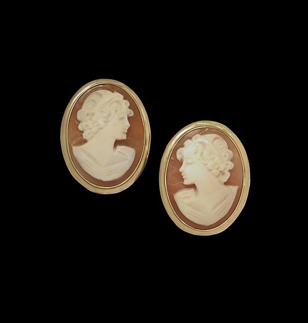 Pair of 14 Kt. Yellow Gold and Cameo Earrings