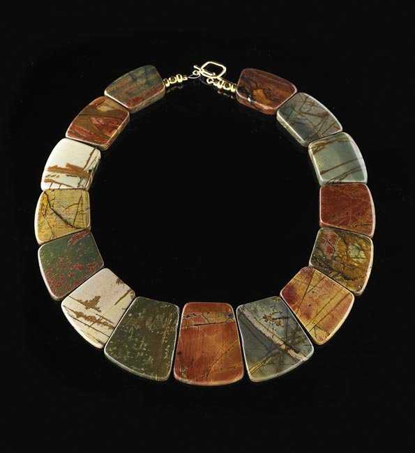 14 Kt. Gold and Jasper Collar Necklace