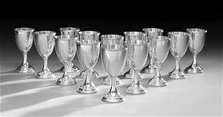 Fourteen American Sterling Silver Water Goblets