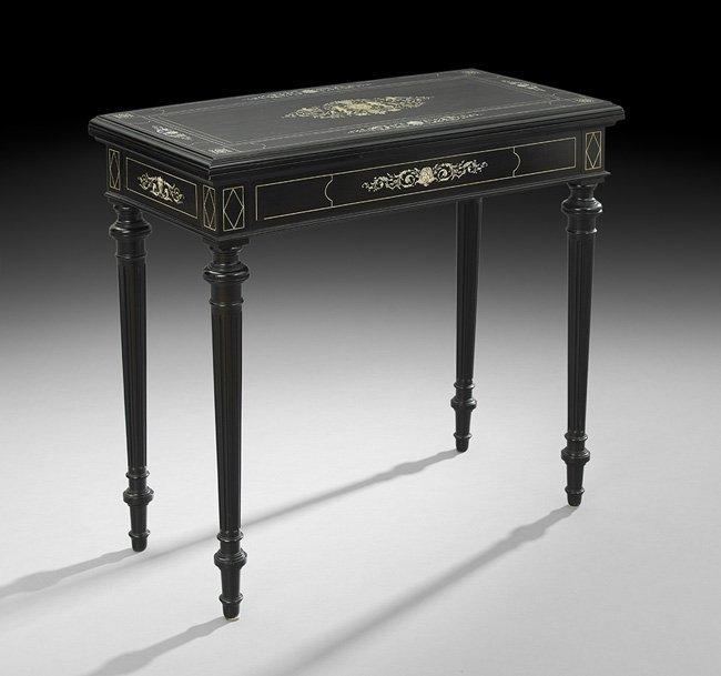 Victorian Ivory-Inlaid Ebony Card Table