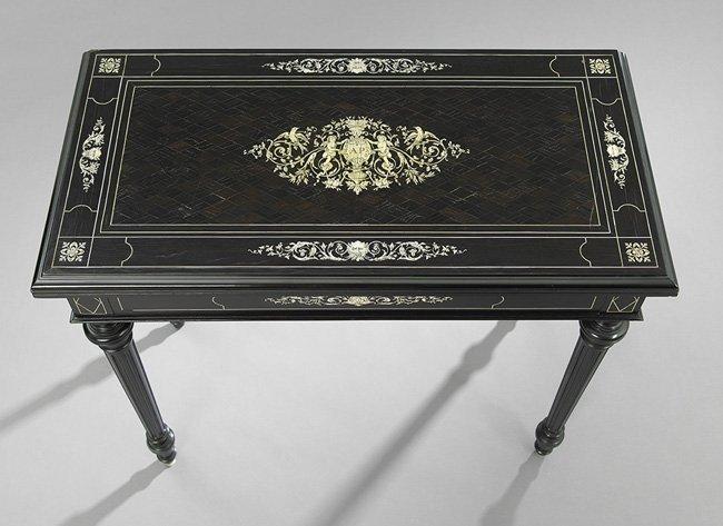 Victorian Ivory-Inlaid Ebony Card Table - 4