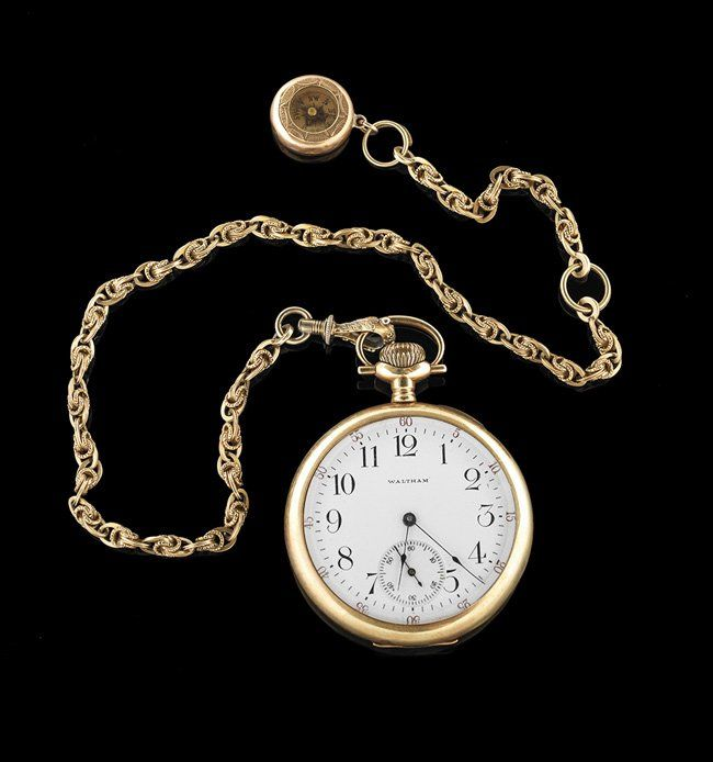 Men's 14 Kt. Gold Pocket Watch and Chain