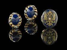 Pair of 14 Kt. Gold, Lapis and Diamond Earrings