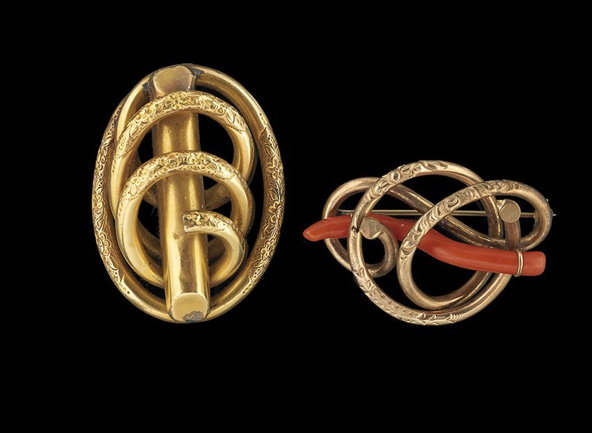 Two Victorian Yellow Gold-Filled Looping Brooches
