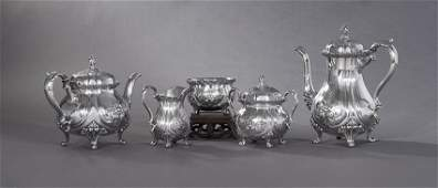 Chased Du Barry Silverplate Coffee and Tea Set