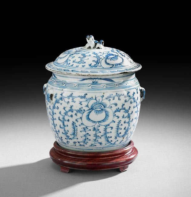 Chinese Blue and White Porcelain Congee Pot