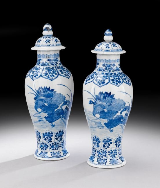 Two Chinese Blue and White Covered Vases