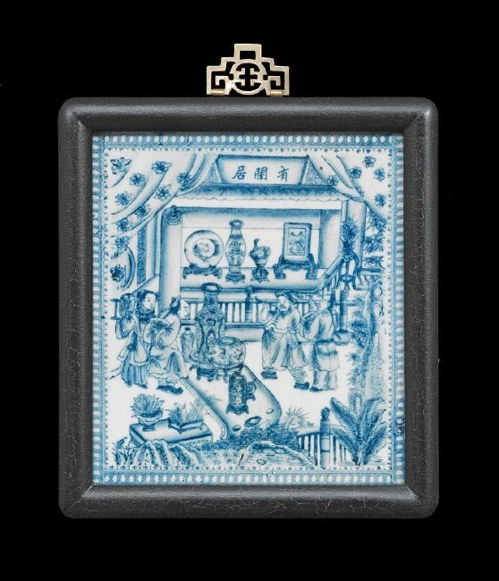 Four Chinese Blue and White Porcelain Panels