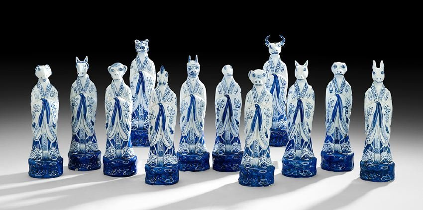 Twelve Chinese Porcelain Zodiac Figures