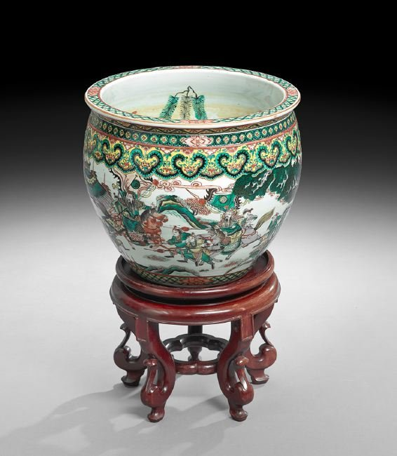 Chinese Famille Verte Fish Bowl on Stand