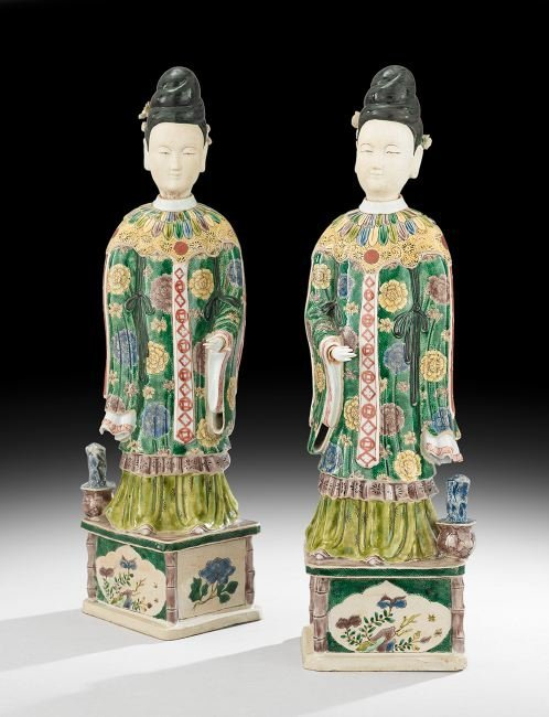Pair of Chinese Porcelain Court Ladies