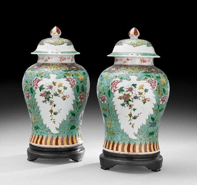 Pair of Chinese Famille Rose Temple Jars
