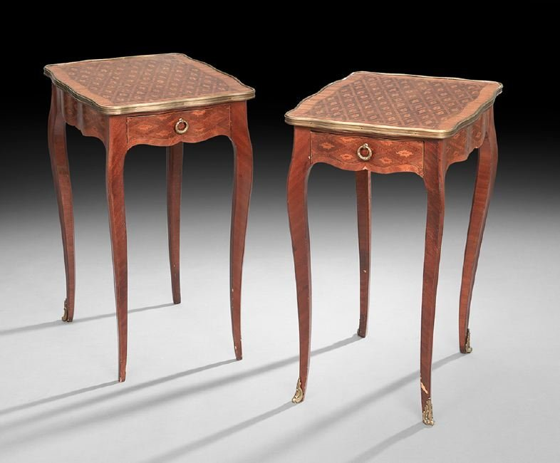 Pair of Louis XV-Style Exotic Woods End Tables